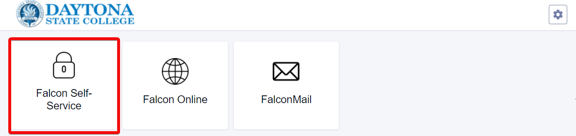 My Daytona State Homepage with the Falcon Self Service Tile highlighted