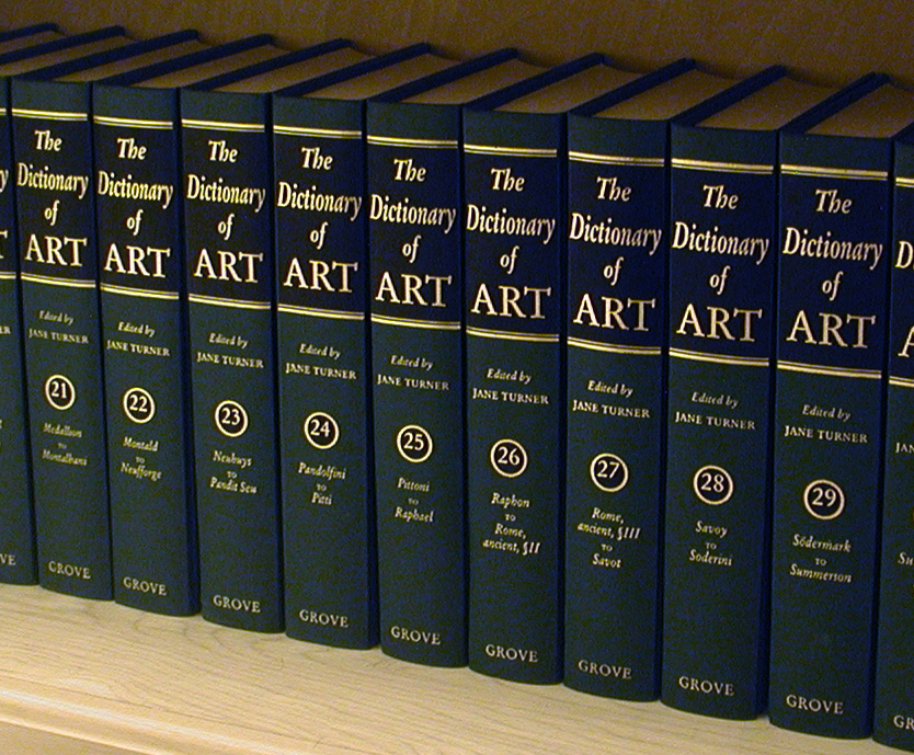 volumes of the oxford dictionary of art on a shelf
