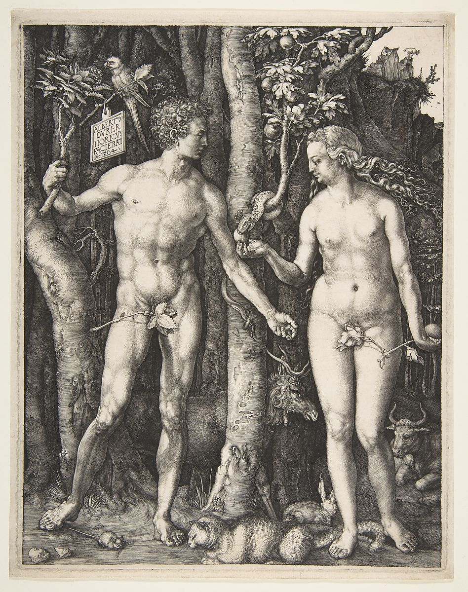 The first man and woman are shown in nearly symmetrical idealized poses: each with the weight on one leg, the other leg bent, and each with one arm angled slightly upward from the elbow and somewhat away from the body.