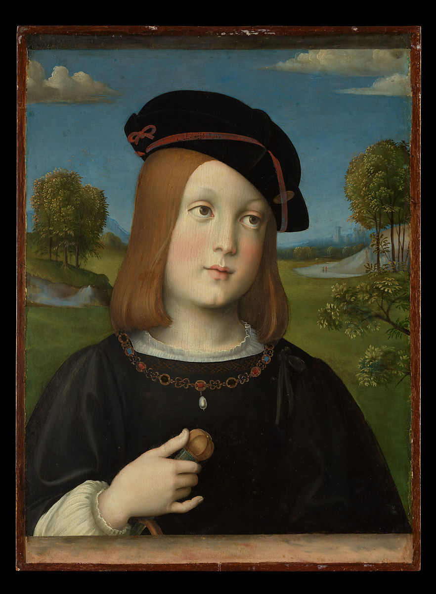portrait of Federico Gonzaga, wearing a black hat and jacket, with a pastoral background.