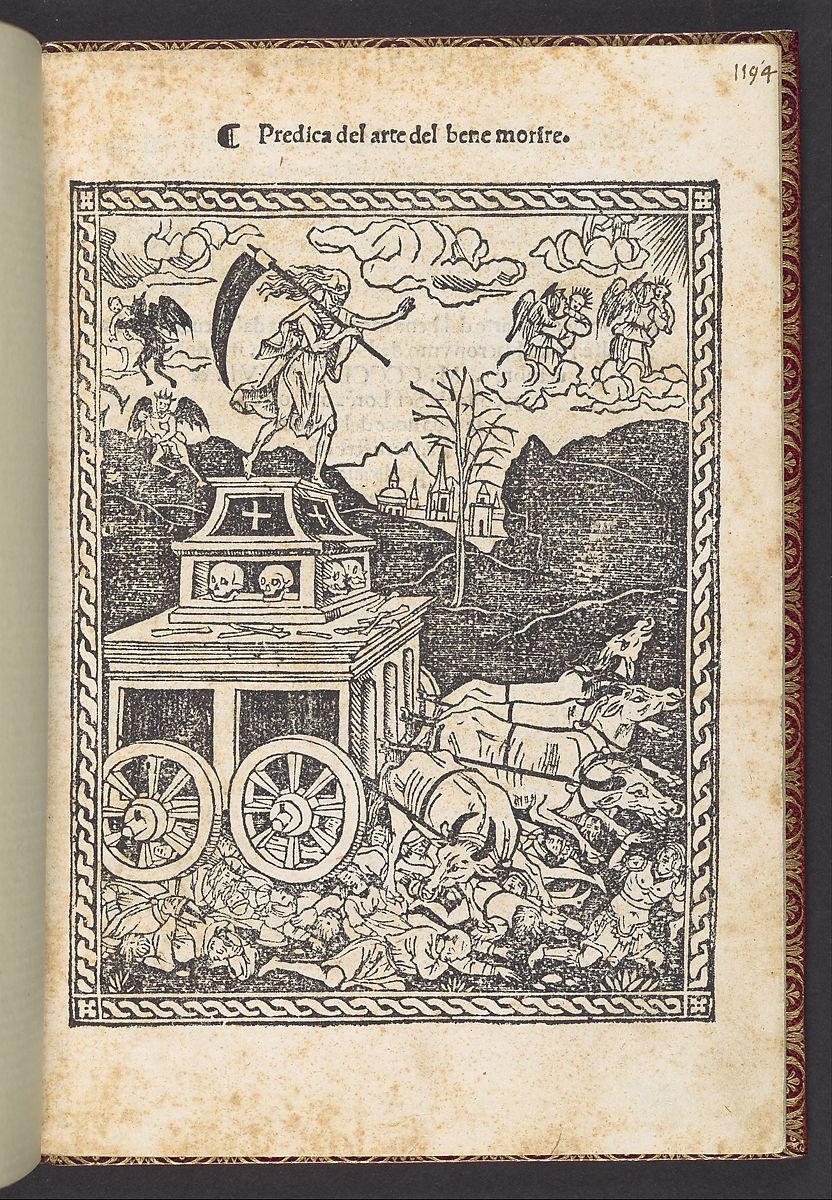 The title page to this edition of Savonarola's sermon is adorned with a woodcut of the Triumph of Death, first used in a 1499 Florentine edition of Petrarch's 'Trionfi'. Individuals of all ages and walks of life are crushed beneath the wheels of Death's chariot. In the background, at left, devils carry off the souls of the damned, while at right the souls of the blessed are transported up to heaven by angels.