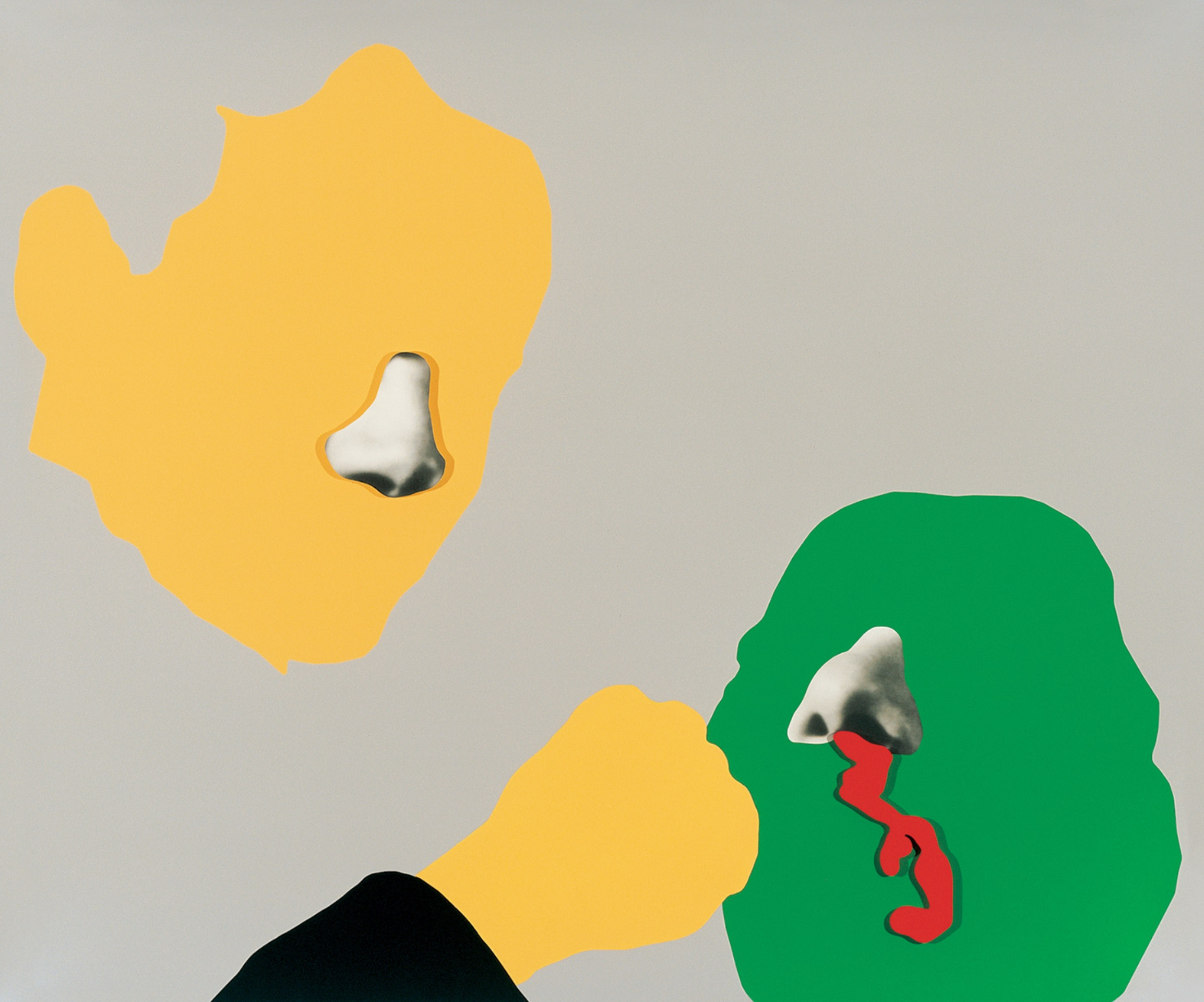 An abstract work of two faces in solid yellow and green, with grayscale noses. The green face has blood coming from its nose.