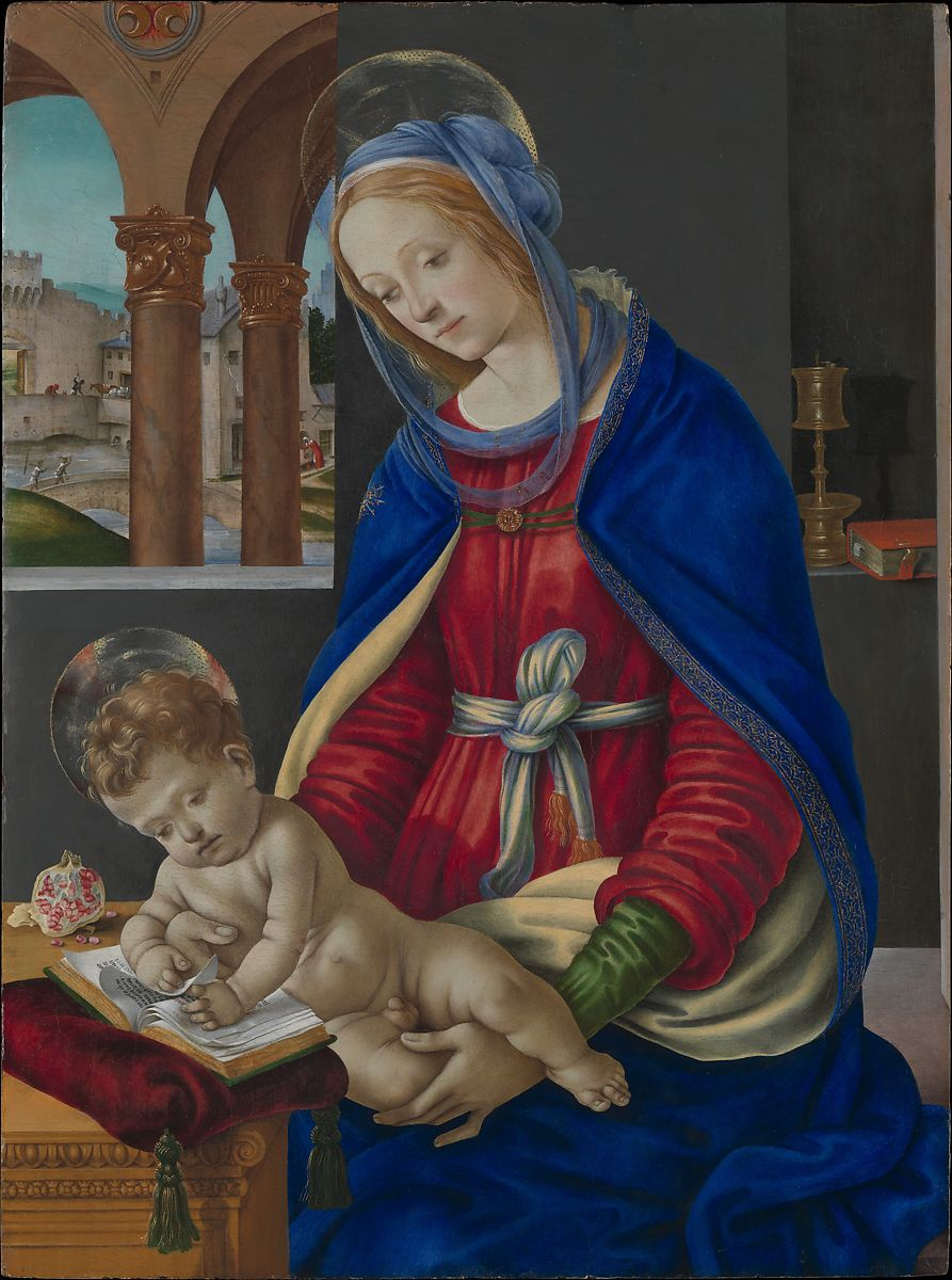 The Madonna and Child are shown in a contemporary Florentine palace. Through the window is an arcade with the armorial device of the wealthy Florentine banker Filippo Strozzi (three crescents). The background evokes the area around the Strozzi villa near Florence.