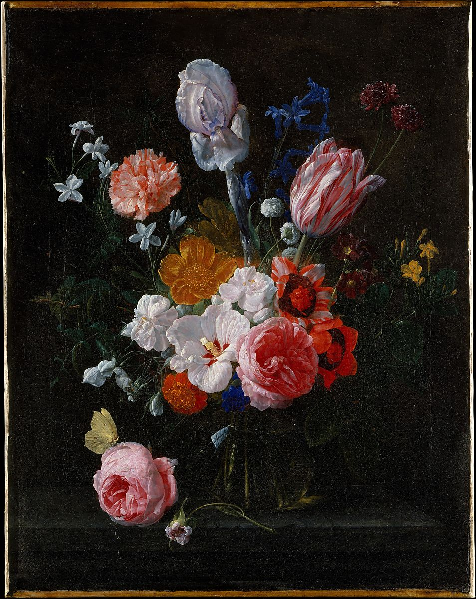 A painting of a bouquet of flowers in a crystal vase on a black background.