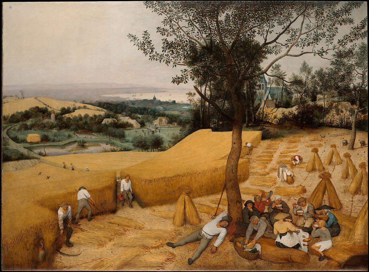 A landscape painting of a wheat field in harvest, with several people working or laying in the field.
