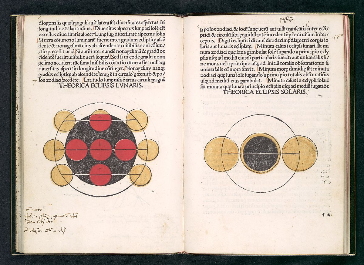 The Kalendarium, based on the studies of the astronomer Johannes Müller of Königsberg (known as Regiomontanus), included ten pages of eclipses, with the illuminated portion handcolored in yellow.