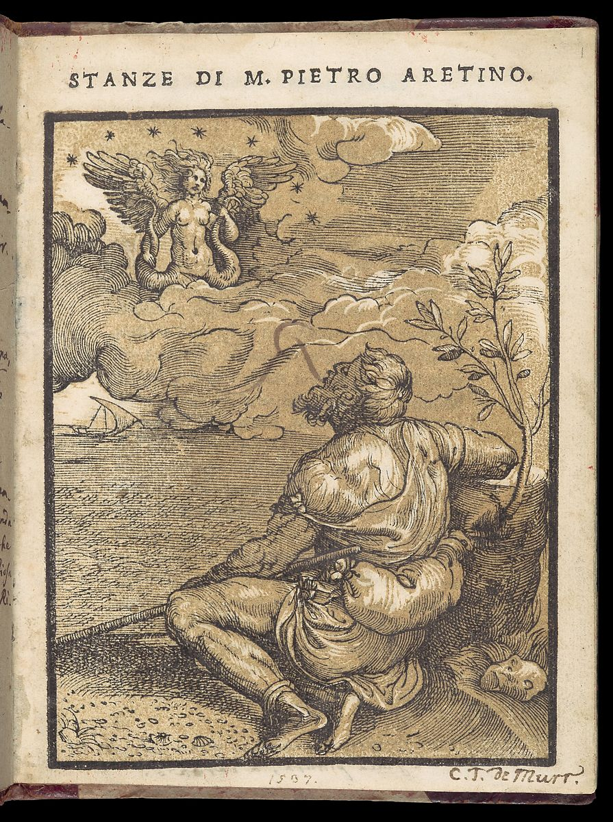 The woodcut perfectly illustrates the conceit of the poem, depicting the poet Aretino as a rustic shepherd, singing to his love, Angela Sirena, who appears as a winged siren in the heavens.