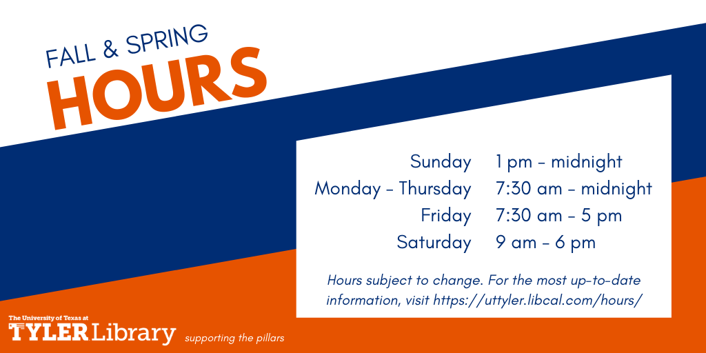Fall & spring library hours are Sunday 1 pm - midnight, Monday through Thursday, 7:30 am to midnight, Friday 7:30 am to 5 pm, and Saturday 9 am to 6 pm. Hours are subject to change. Click image to link to most up-to-date hours.