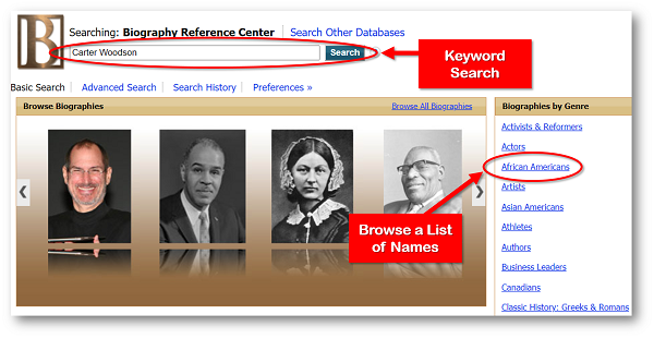 Biography Reference Center homepage