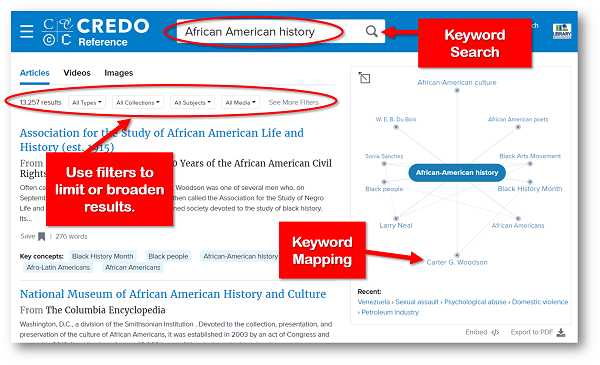Credo search results page