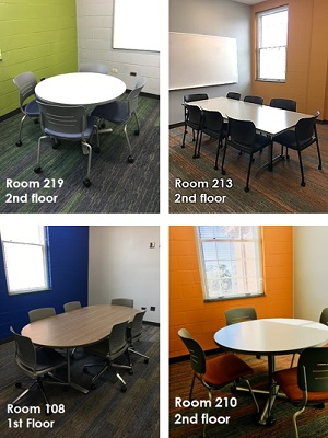 Views of the various types of study rooms available.