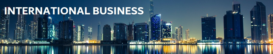 International Business (background of Dubai city skyline)