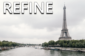 Refine: Up close view of the Eiffel Tower