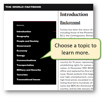 World Factbook side menu with topics