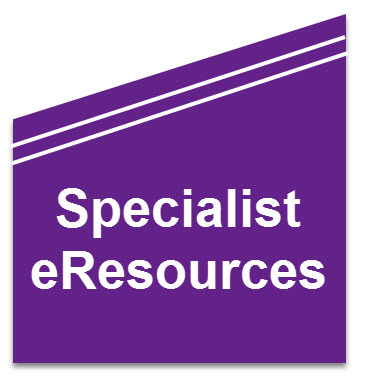 Specialist eResources at the Library - image created in Snagit by Robyn Collins for Library use