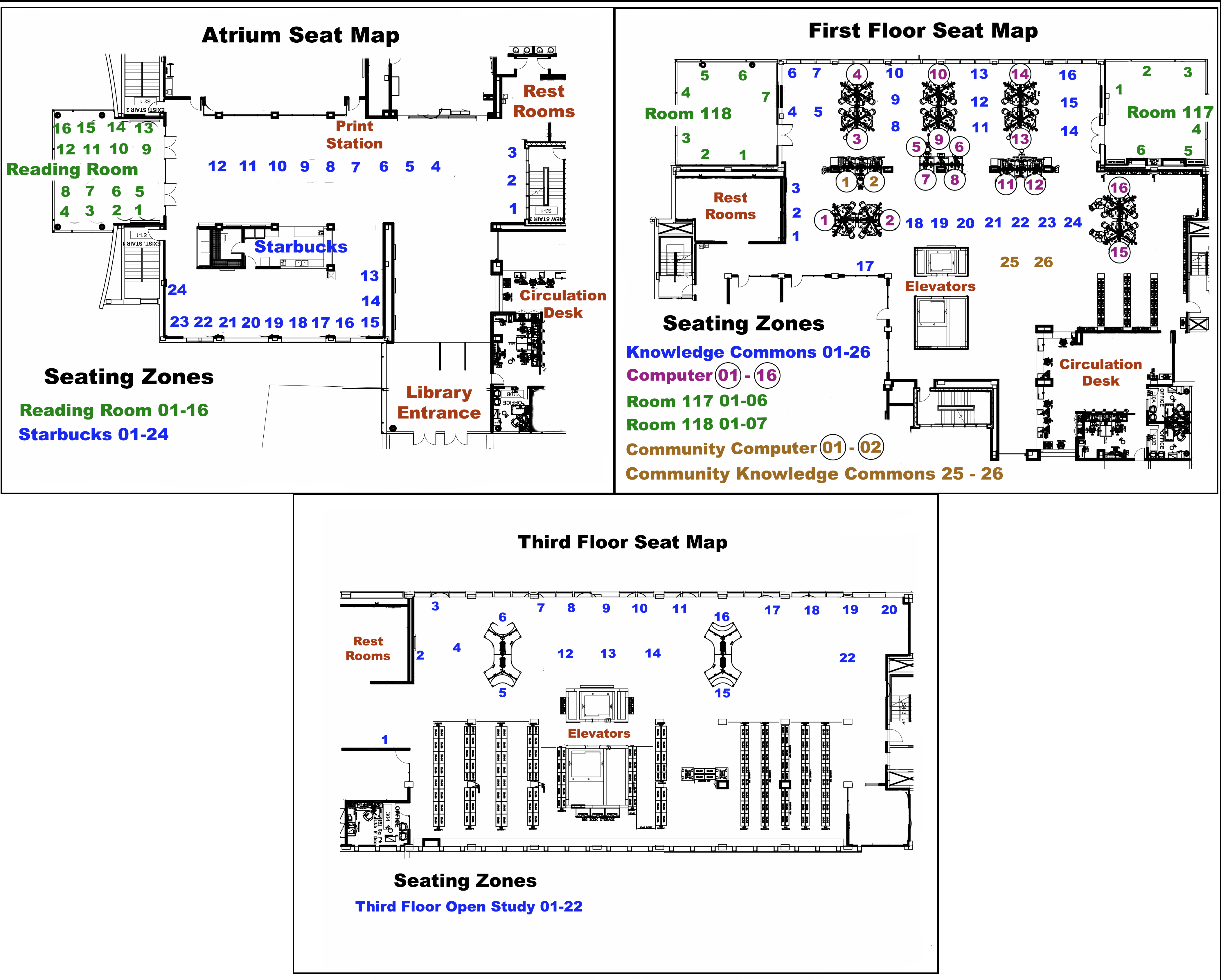 map that shows reservable seats locations on the first and third floors of the McNairy LIbrary including near Starbucks, the Reading Room, room 117, room 118, the Knowledge Commons and Computer area.