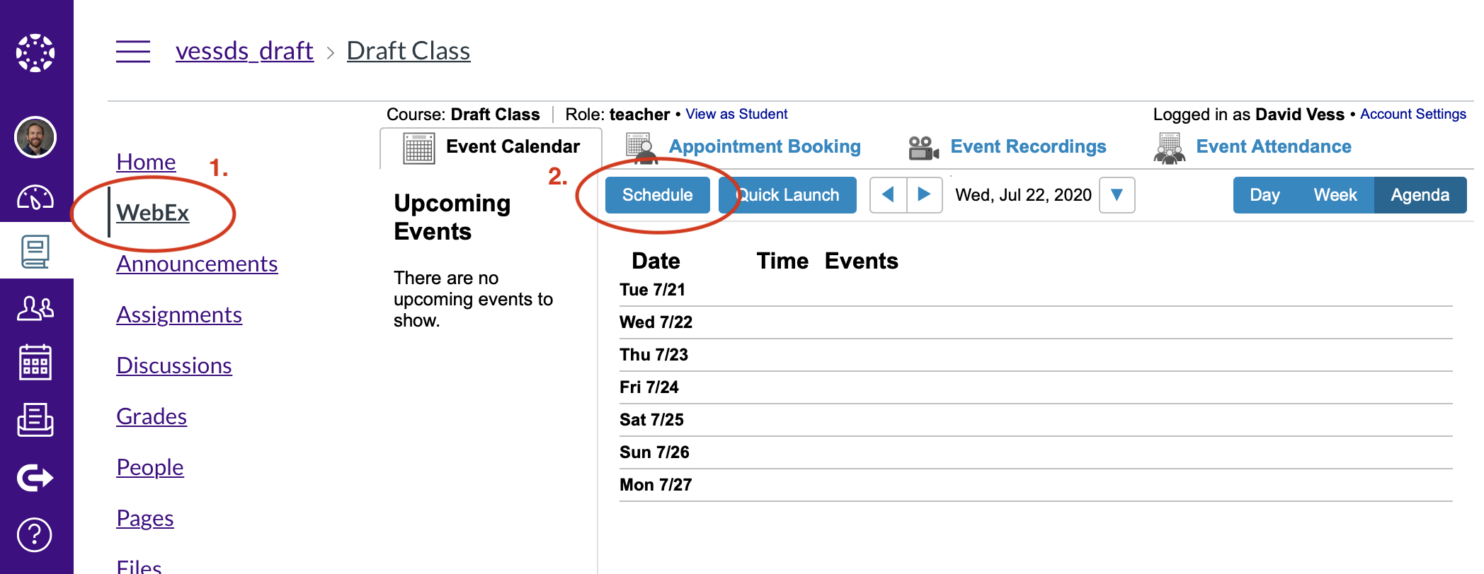 Click on the Schedule button inside Webex in Canvas.