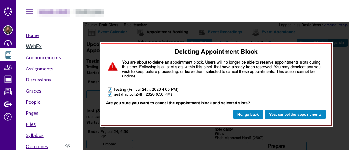 When deleting a block, you can choose to delete or keep reserved appointment slots.
