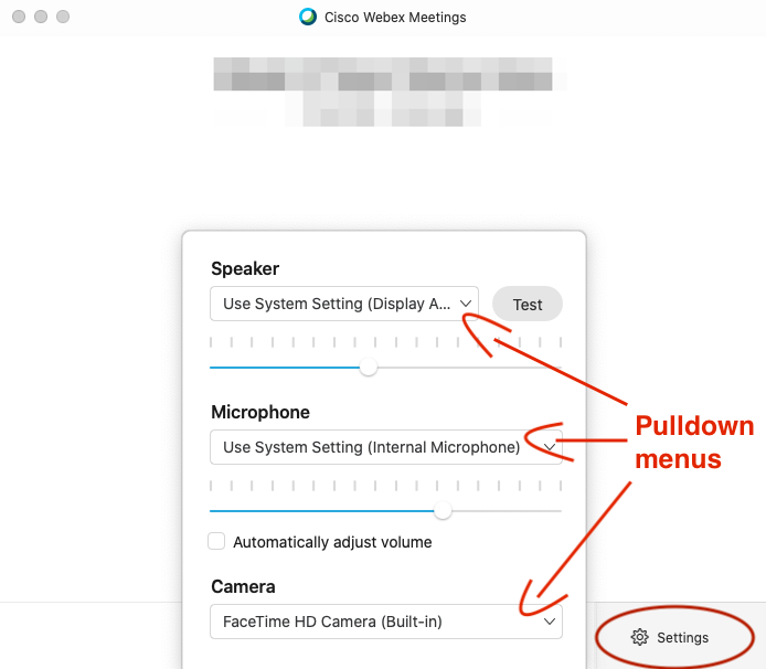 Webex audio and video source settings panel on the Start Meeting window.