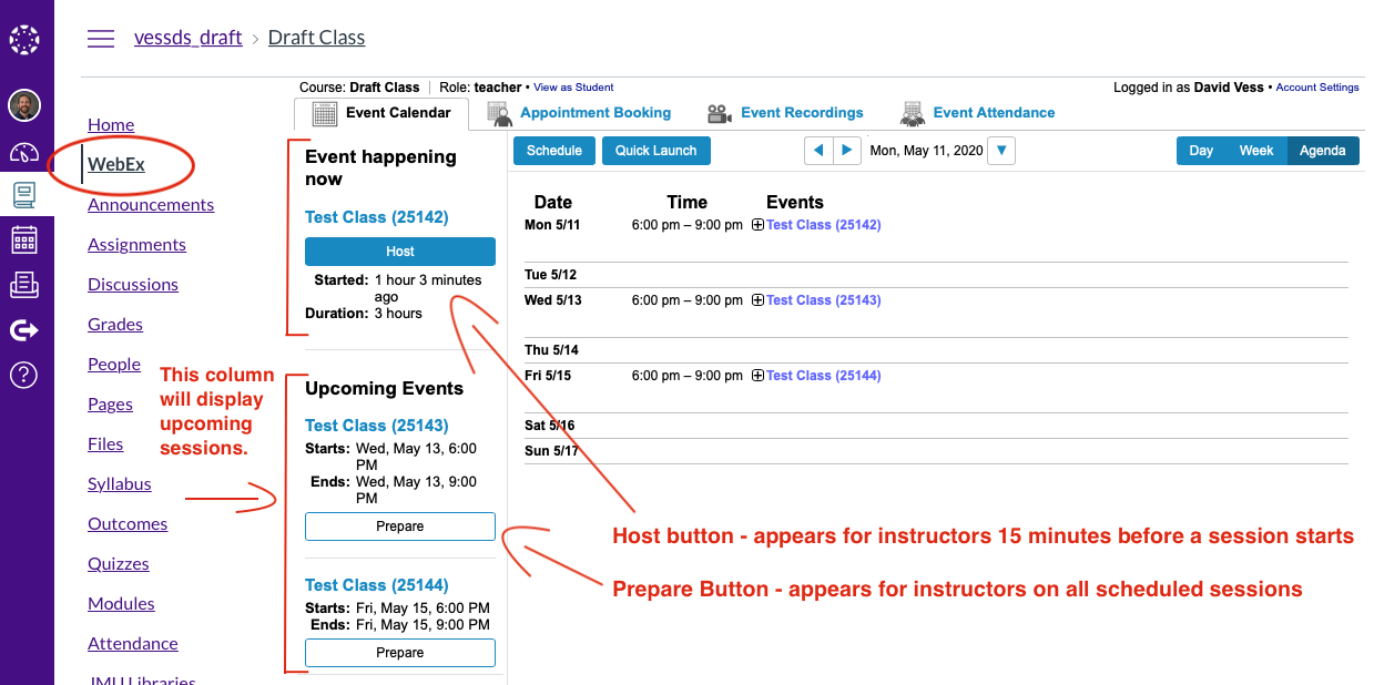 The Host and Prepare buttons instructors will see in the list of upcoming sessions scheduled in Webex inside Canvas.