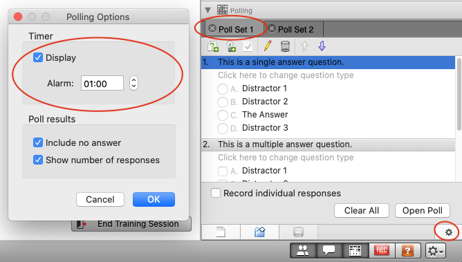 How to set a timer on a poll when using Webex trainings conference type.