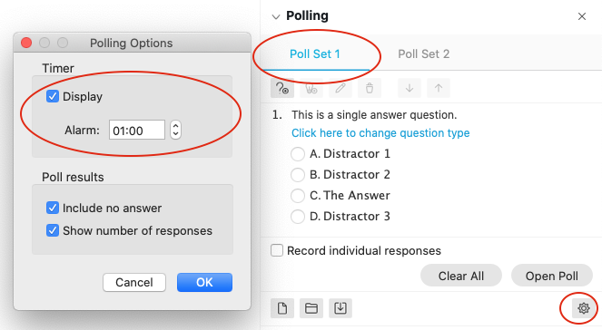How to set a timer on a poll when using Webex meetings or events conference types.