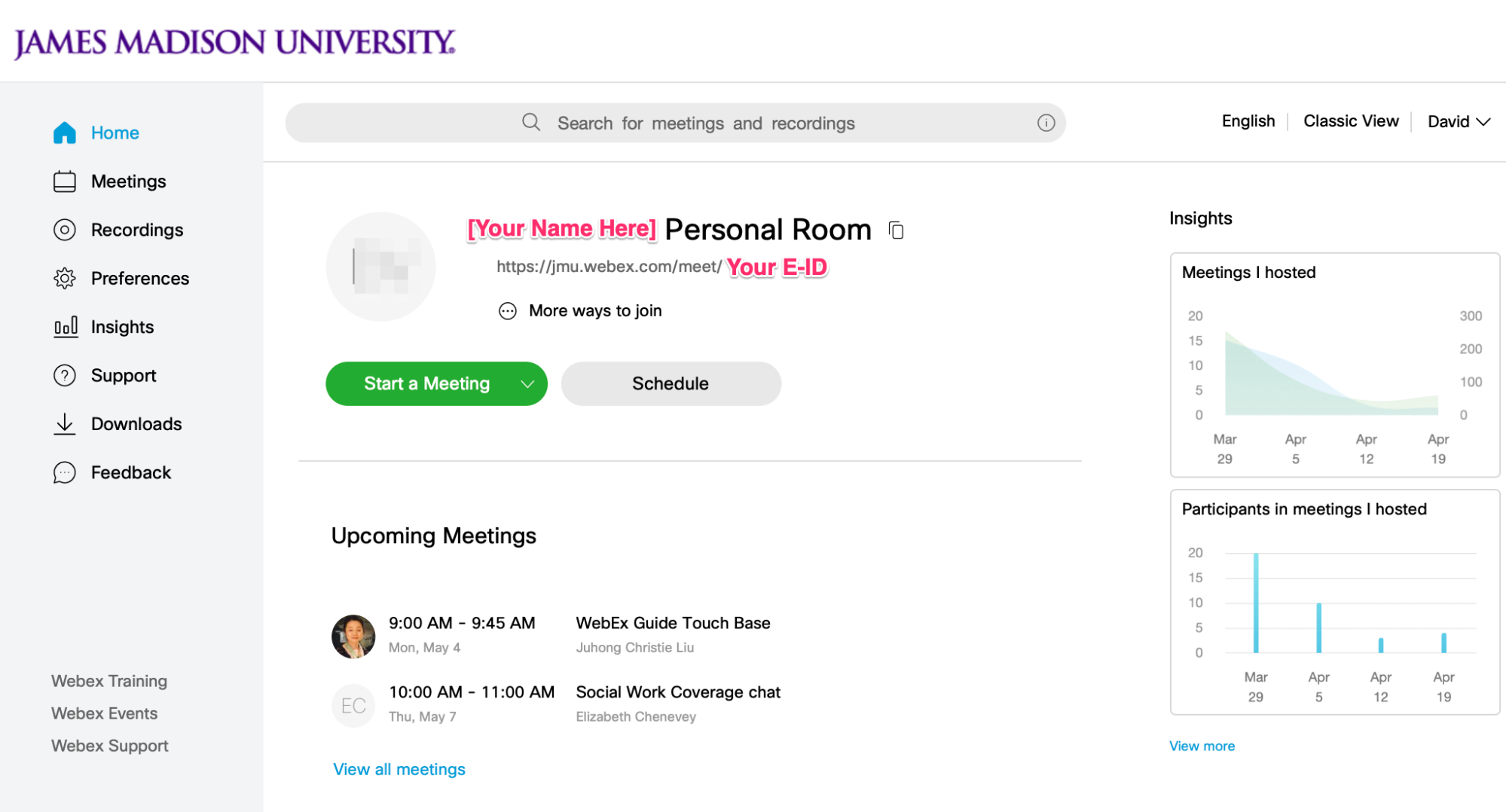 The home page of the JMU Webex website at jmu.webex.com as it appears after anyone with an @jmu.edu account logs in.