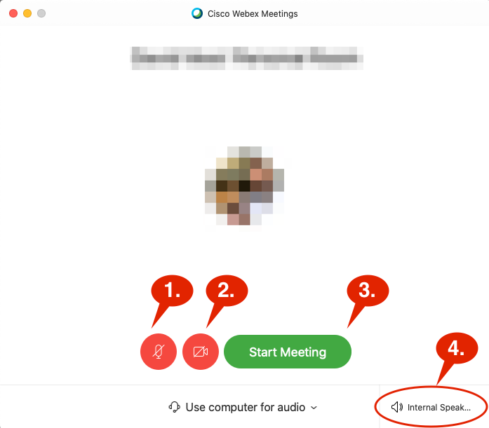 Webex Start Meeting / Event Window.