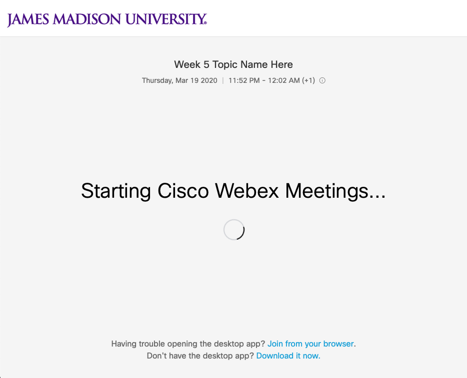 One of the Webex session launch progress screens.