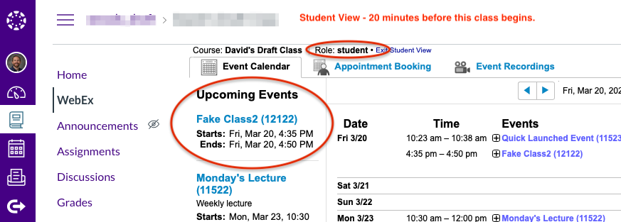 Student view of a session listed in the Upcoming Events list in the Event Calendar tab.