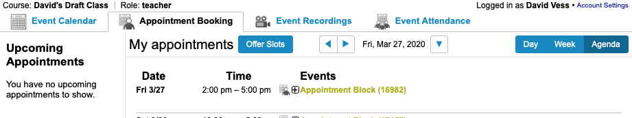 Instructor's view of an appointment block in Webex inside Canvas.