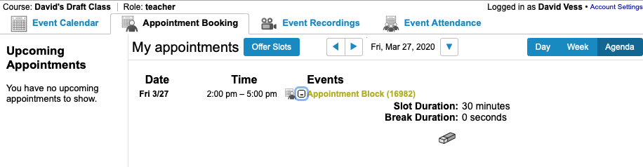 Instructor's view of an appointment block in Webex inside Canvas and access to delete the series of appointments.