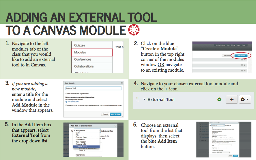 Figure 1: An image of how to add an external tool to a Canvas module.