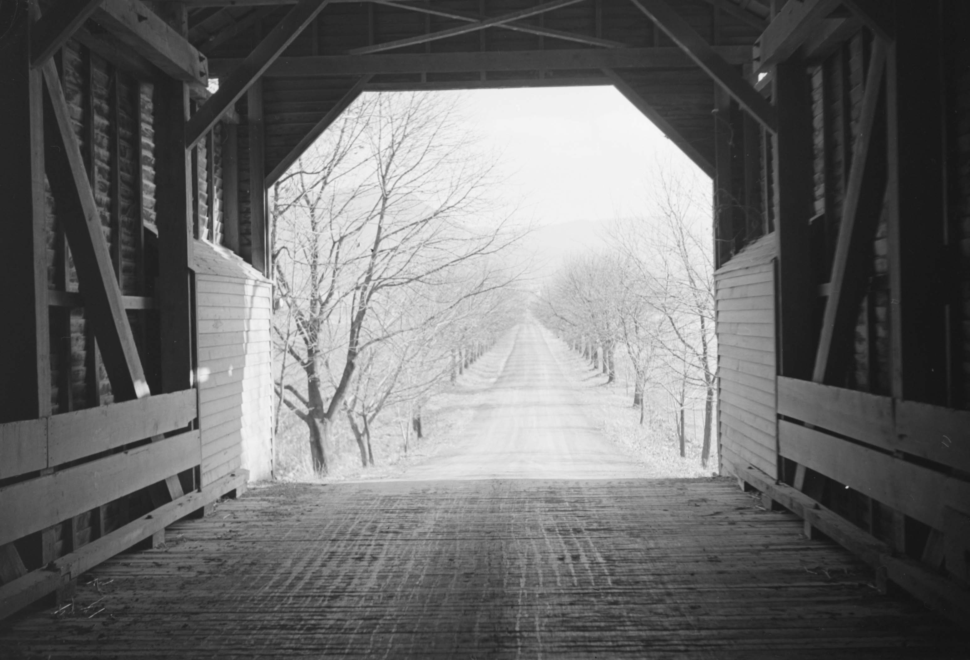 View of a road from the inside of Meem's Covered Bridge