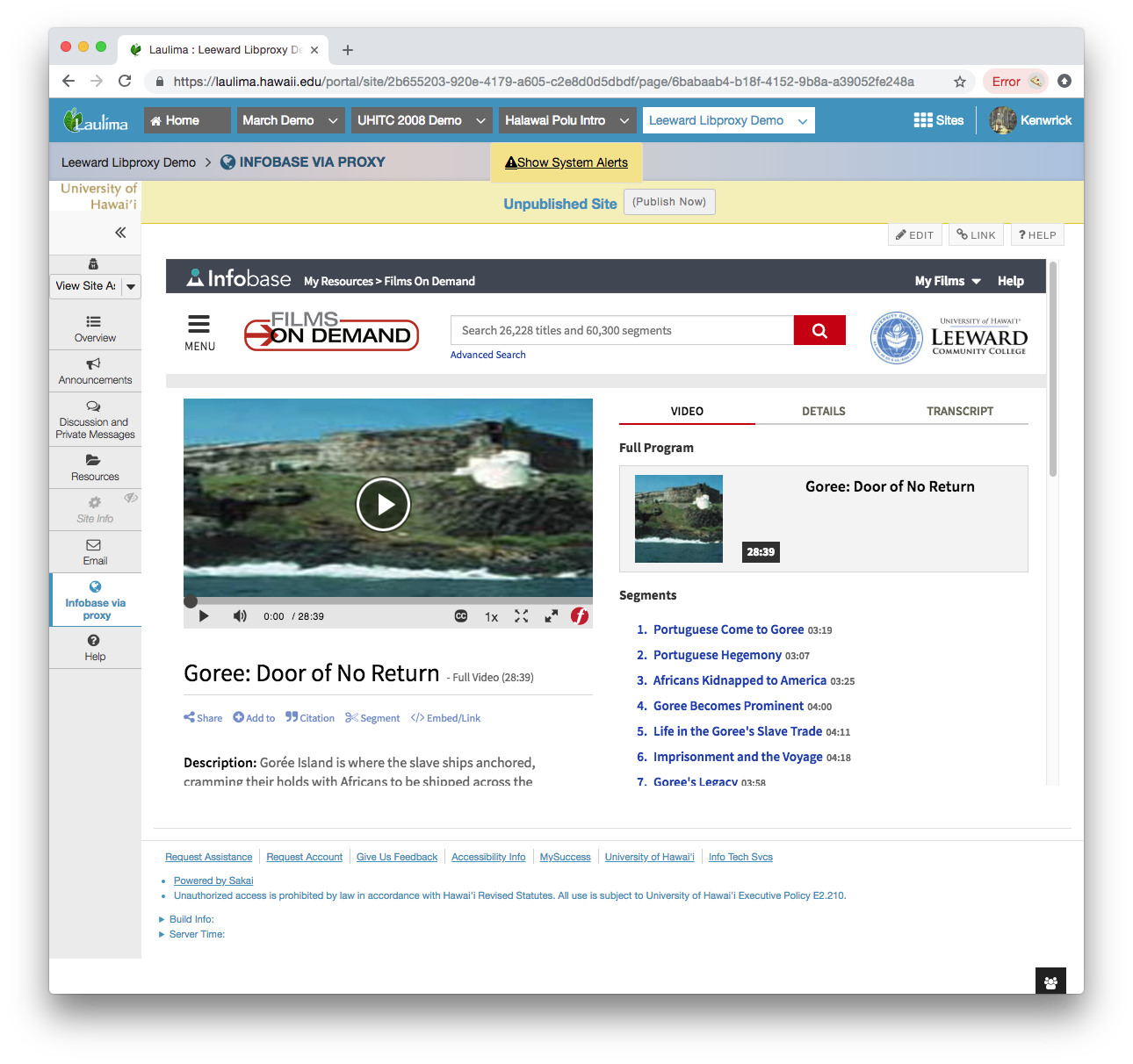 Screenshot of web content shown in a Laulima screen