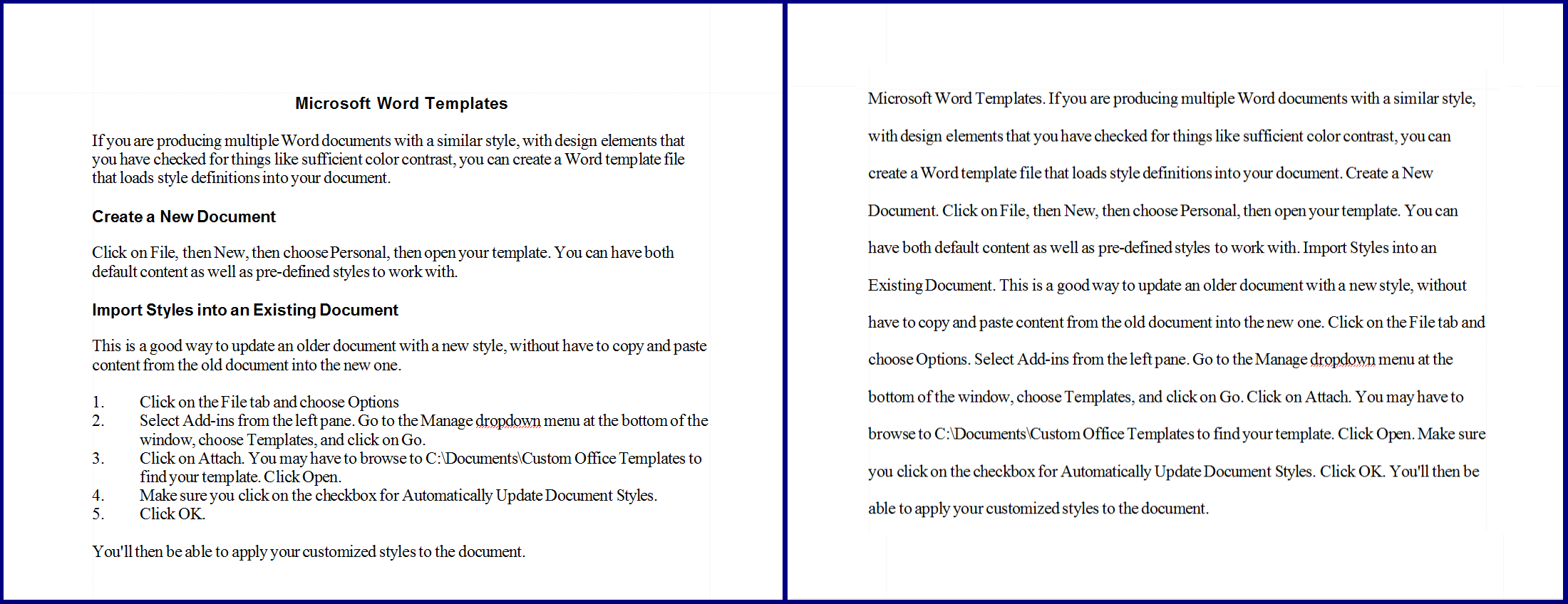 Two sample documents, one formatted and one a continuous line of text.