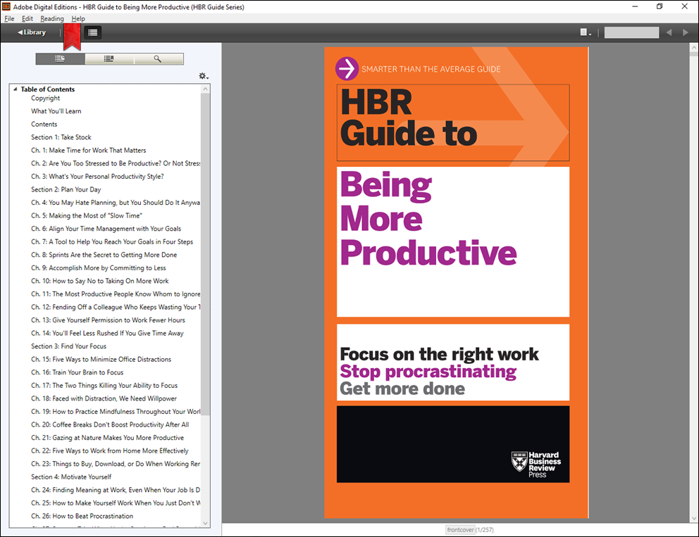 Example of an HBR book in Adobe Digital Editions