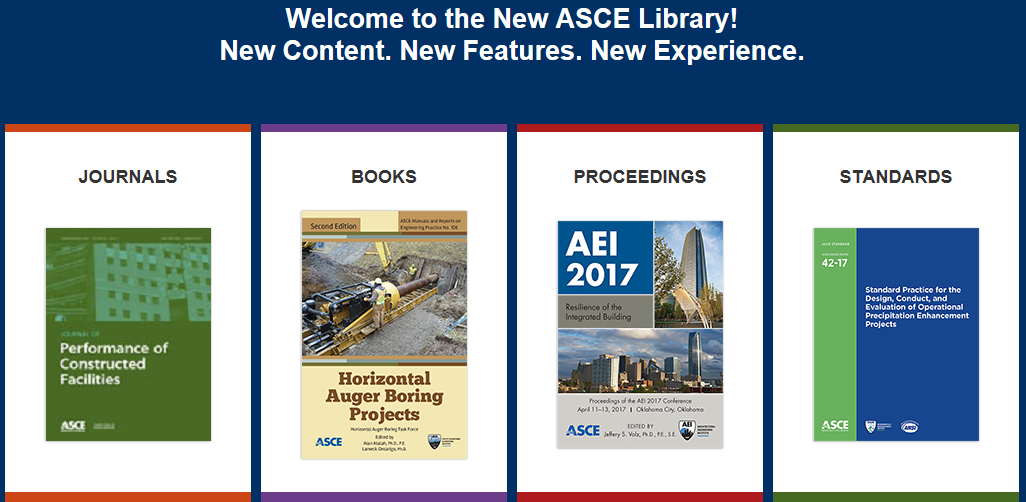 ASCE Library Menu