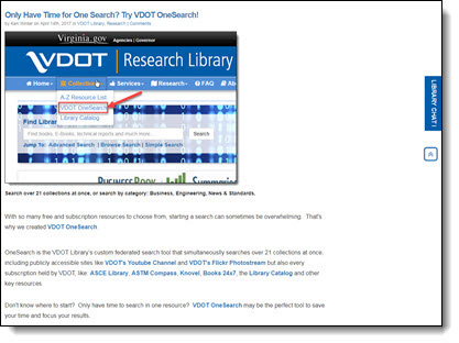 Example of a connections post on the library Web page.