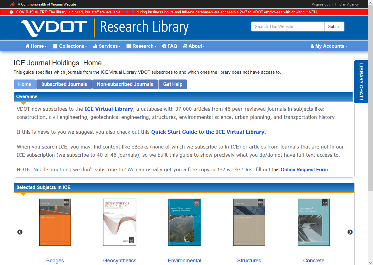 Screen capture of the ICE Virtual Library Journals Guide