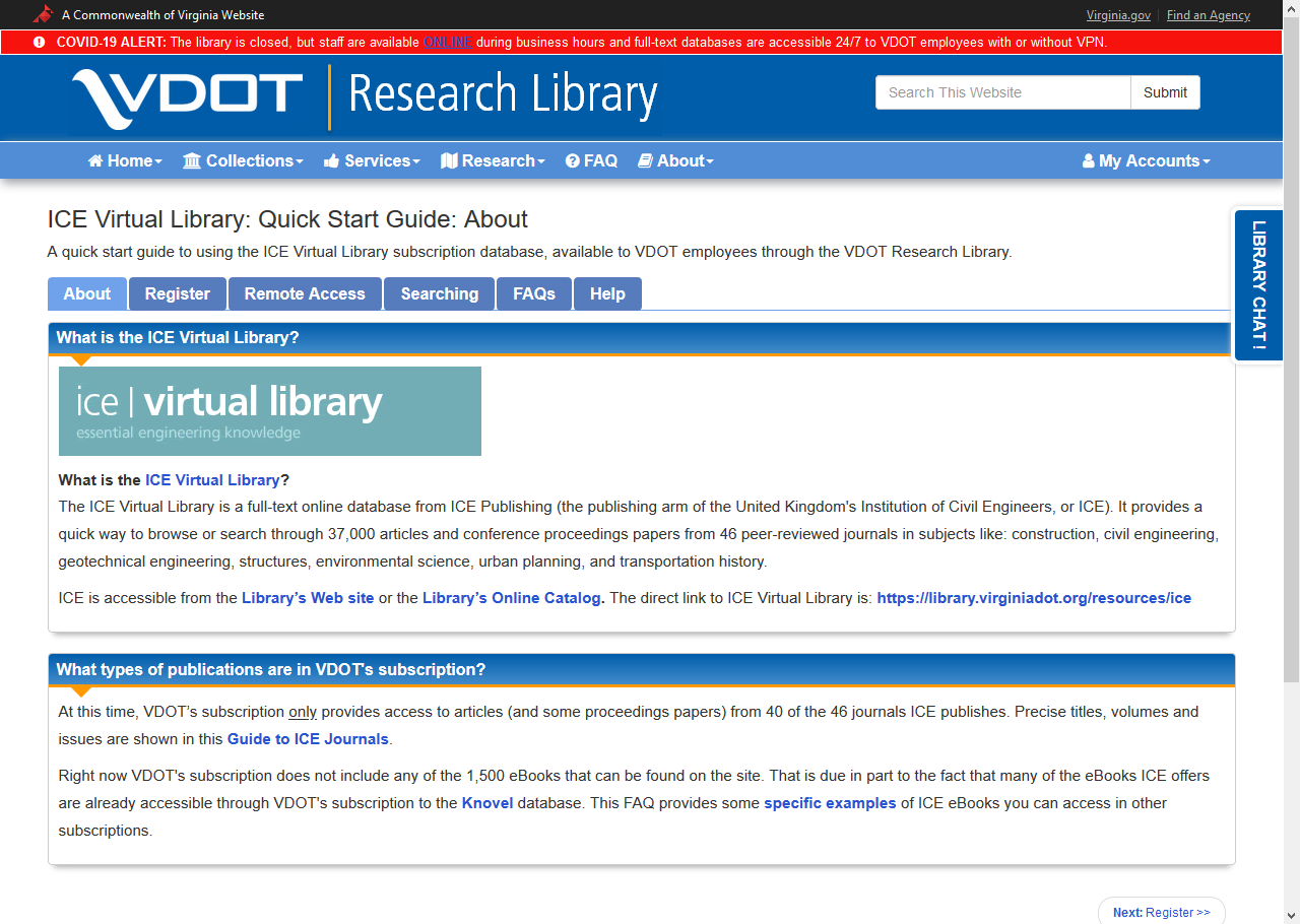 Screen capture of the ICE Virtual Library Quick Start Guide
