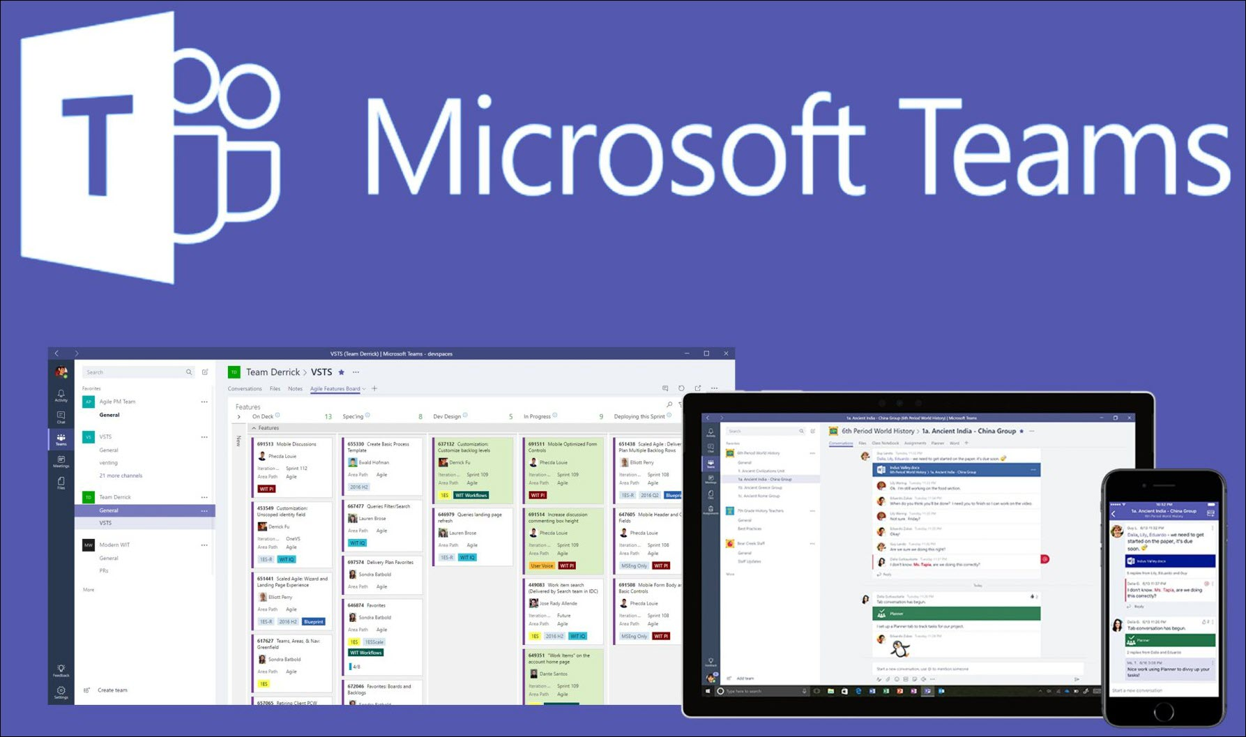 Image illustrating what Microsoft Teams looks like on different devices.