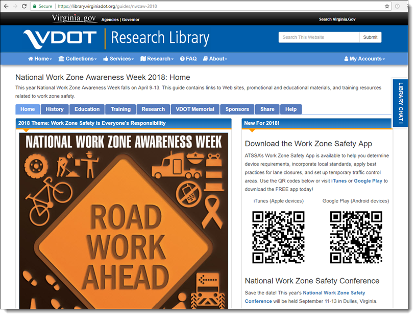 Screen capture of the 2018 National Work Zone Awareness Week Guide.