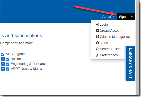 """Screen capture showing the location of the """"Sign In"""" option on OneSearch."""