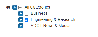 Screen capture of only the Engineering & Research category checked.