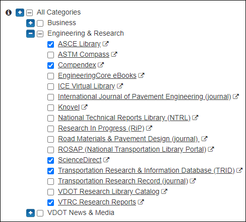 Screen capture of only the Engineering & Research category, with only 5 databases selected..