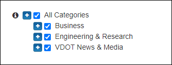 Screen capture showing OneSearch's categories.