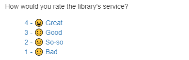 Screen capture showing the quality of service survey for closed libanswers tickets.