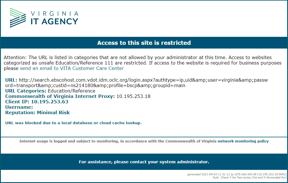 Screen capture of restricted screen.