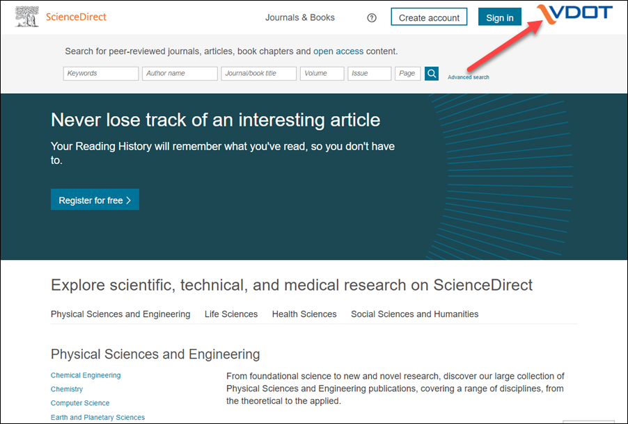 Screen showing ScienceDirect with VDOT logo.